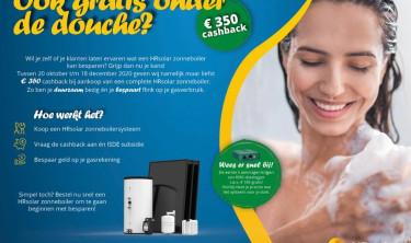 Cashback aktie van HR Solar. €350 retour bij aanschaf van een zonneboiler.